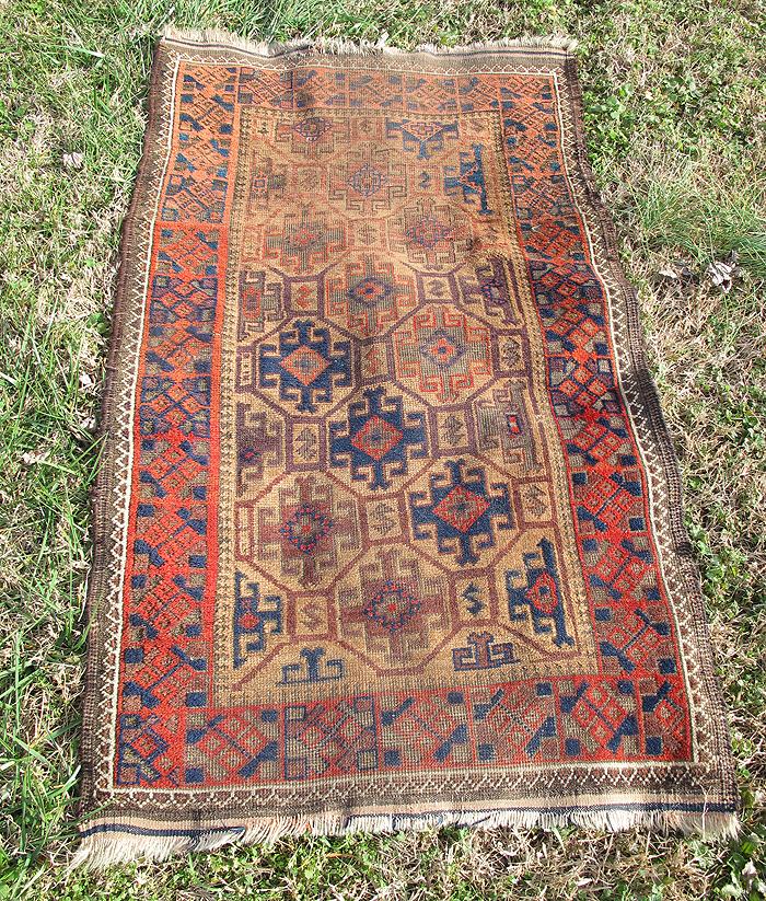 Antique Turkish Anatolian? Red Navy Brown Tan Carpet Rug