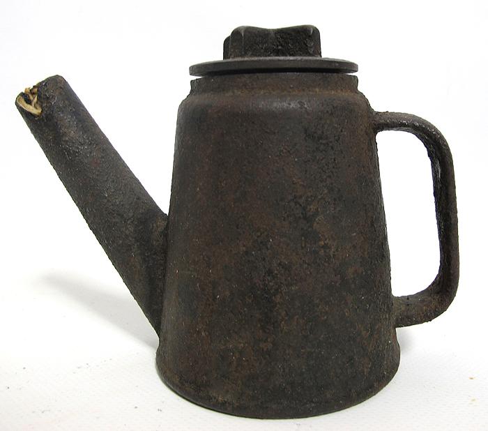 Antique 19th C Heavy Cast Iron Coal Miners Light Teapot